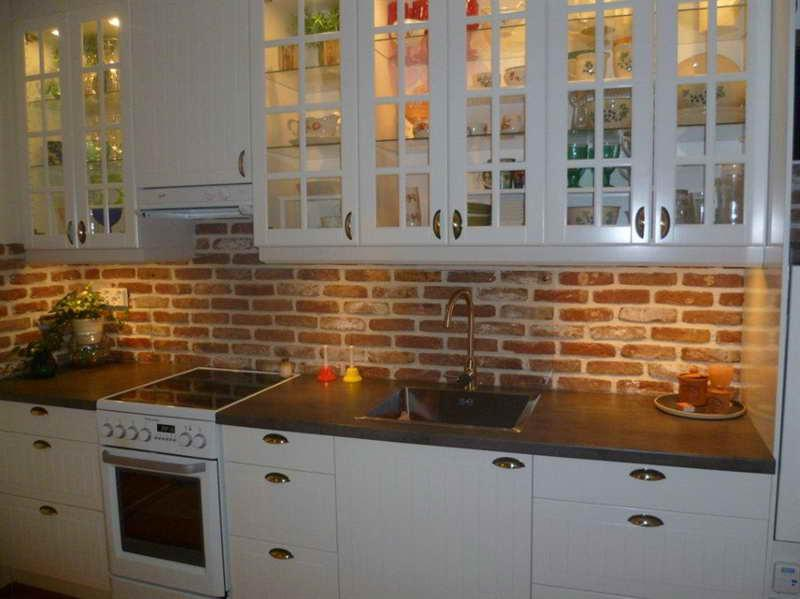 Image of: white brick backsplash