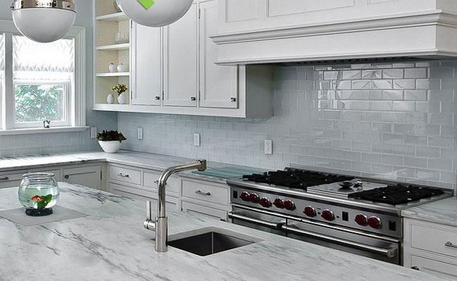 Image of: white glass subway tile backsplash