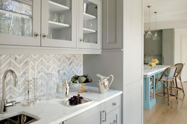 Image of: white herringbone backsplash