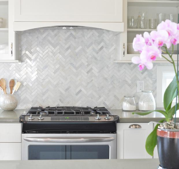 Image of: white herringbone tile backsplash