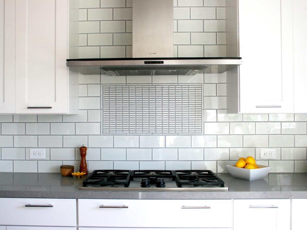 Image of: white kitchen grey backsplash