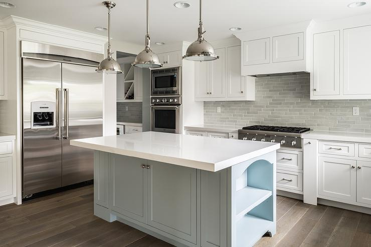 Image of: white kitchen with grey backsplash