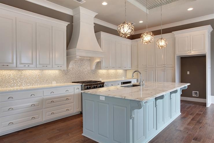 Image of: white mosaic tile backsplash