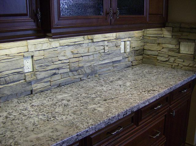Image of: white stacked stone backsplash