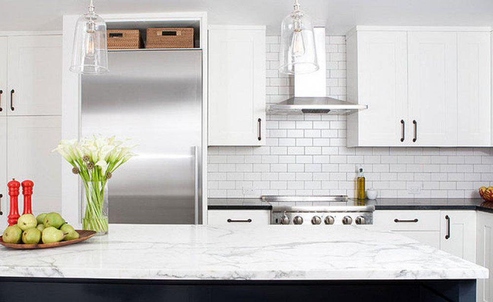 Image of: white subway tile backsplash