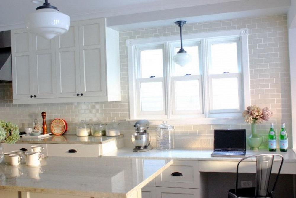 Image of: white tile backsplash kitchen