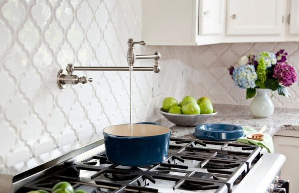 Image of: white tile backsplash with black grout