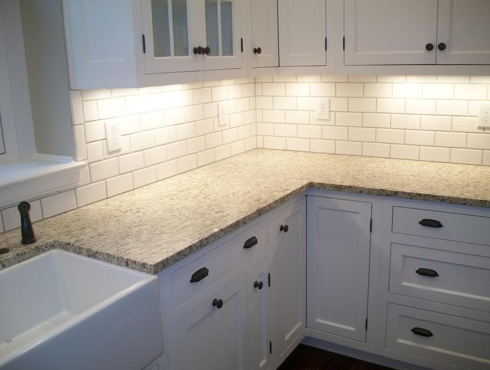 Image of: white tile backsplash with gray grout