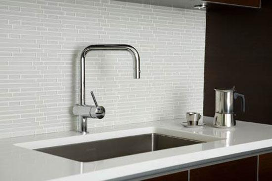 Image of: white tile backsplash with grey grout
