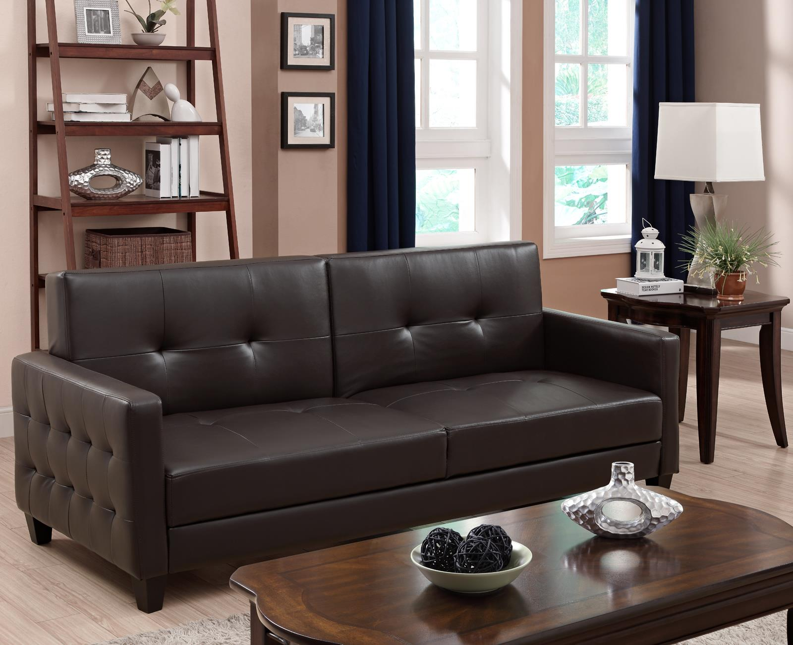 Image of: Beautiful Faux Leather Futon