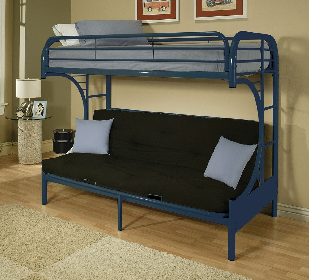 Image of: Blue Metal Futon Bunk Bed