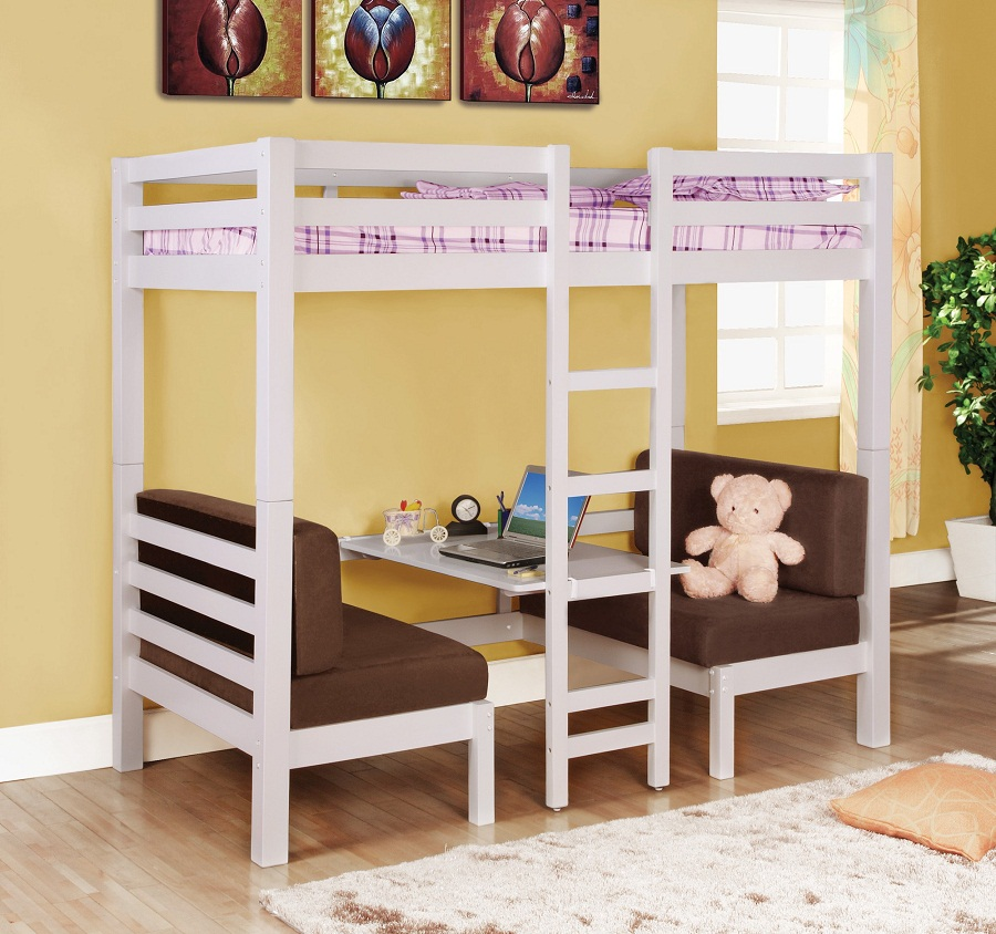 Image of: Child Bunk Bed with Futon