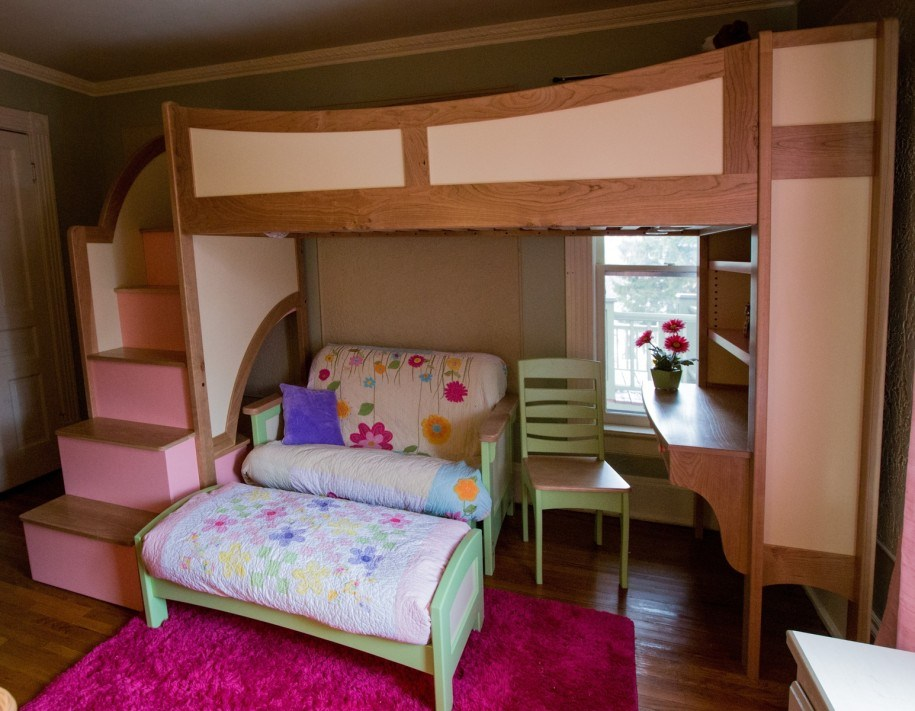 Image of: Children Loft Bed with Futon