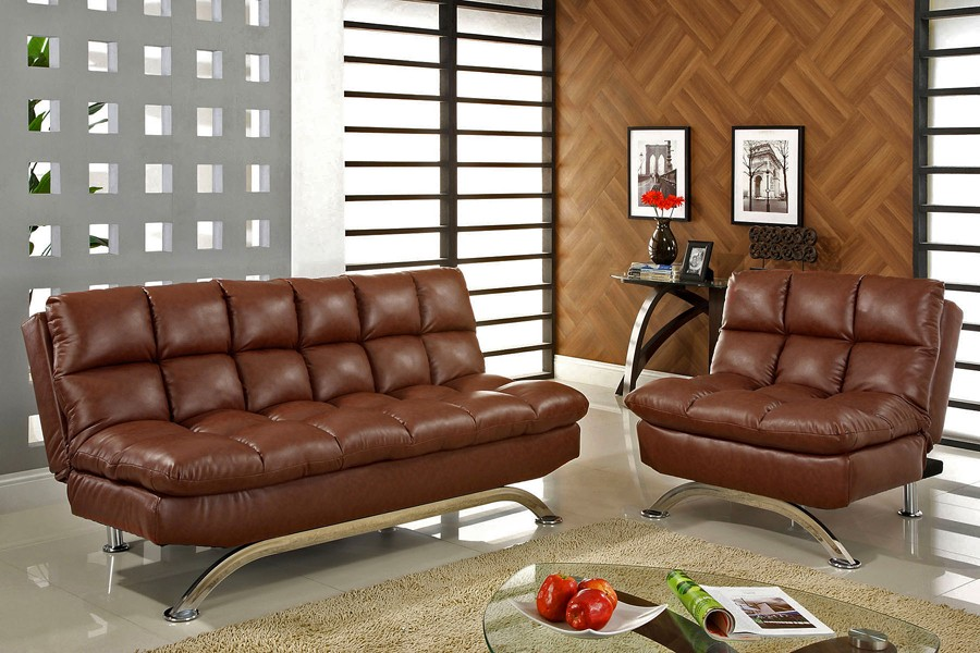 Contemporary Leather Futon