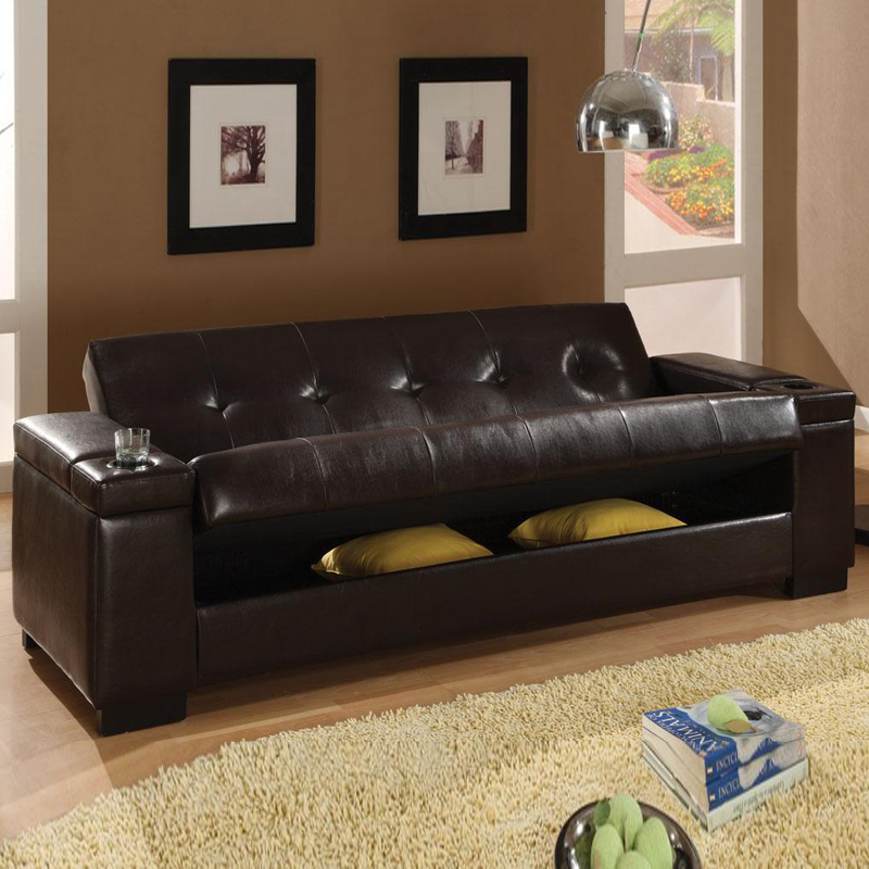 Image of: Faux Leather Futon Sofa Beds