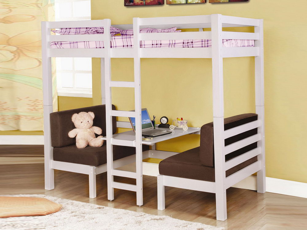 Image of: Full Loft Bed with Futon