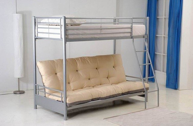 Futon Bunk Bed with Mattress Included Grey