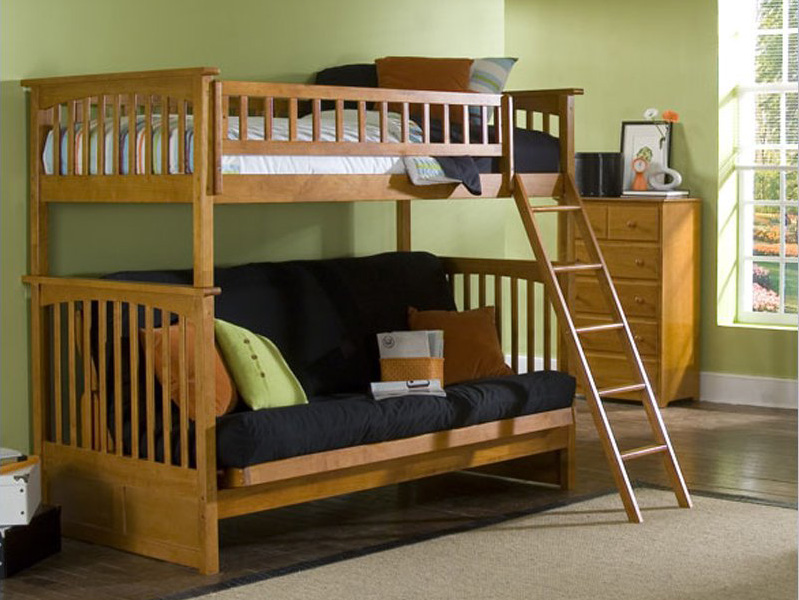 Futon Bunk Bed with Mattress Included Mahogany