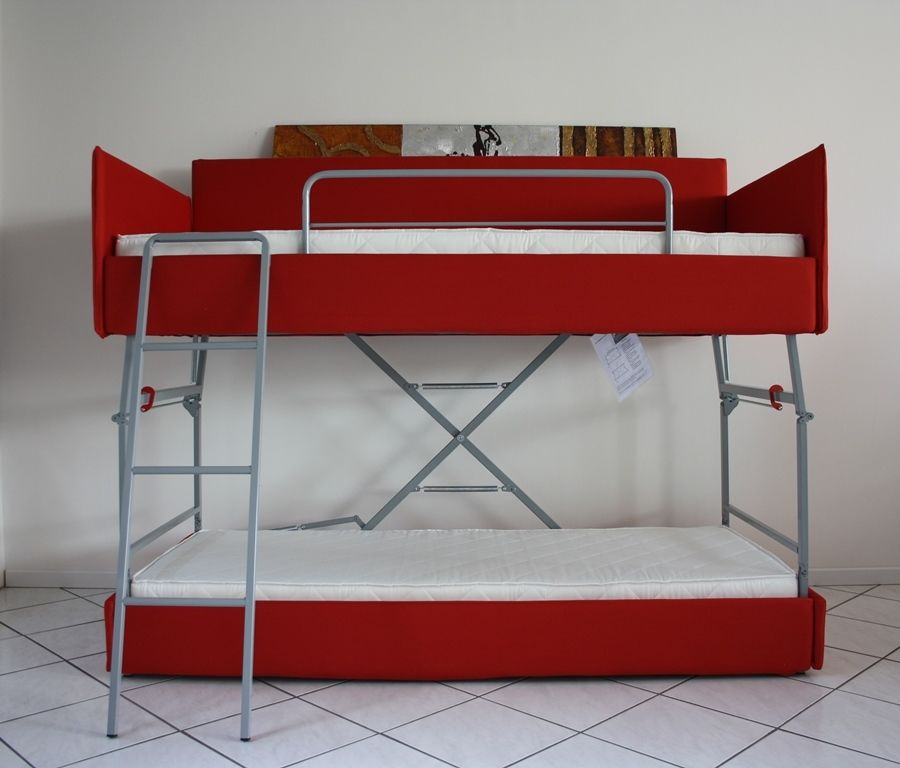Futon Bunk Bed with Mattress Included Red