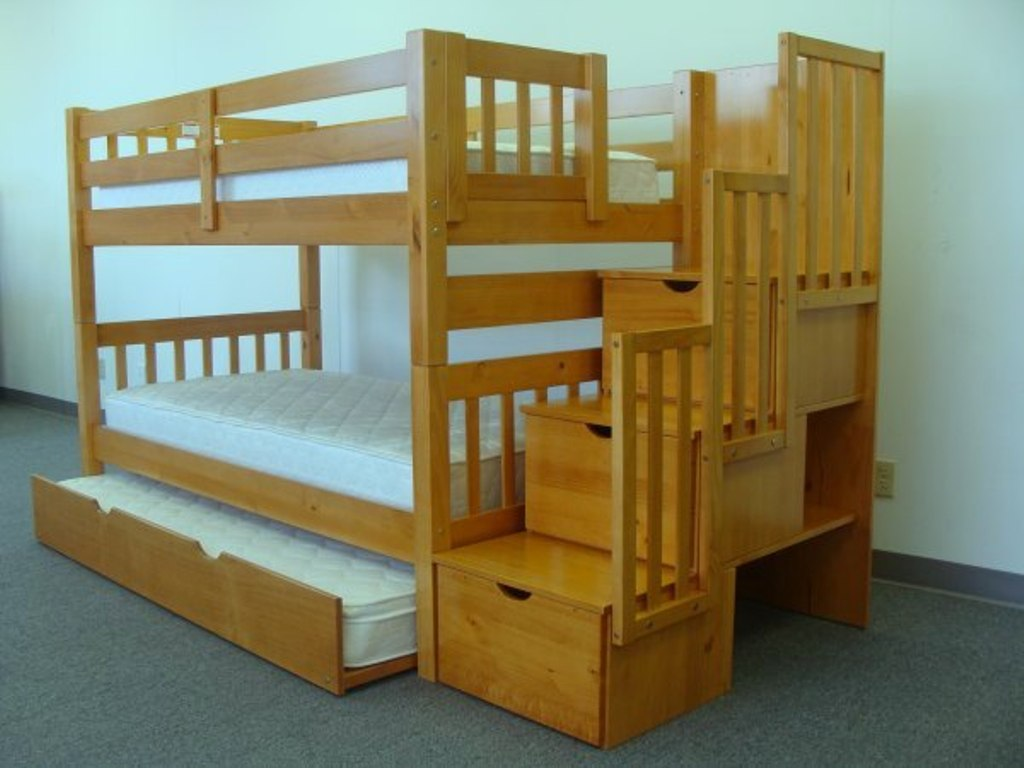 Futon Bunk Bed with Mattress Included Solid Wood