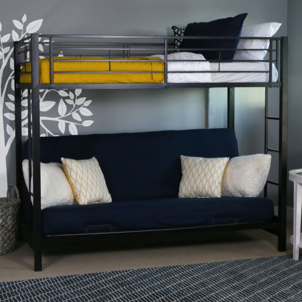Futon Bunk Bed with Mattress Included Steel