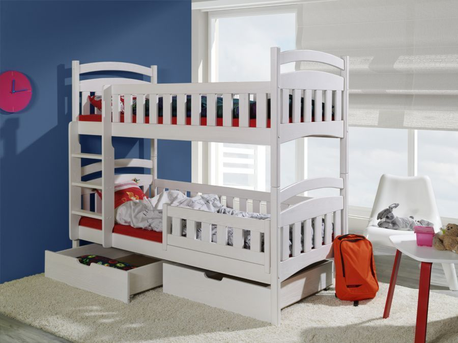 Futon Bunk Bed with Mattress Included White