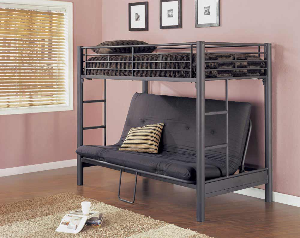Image of: Futon Bunk Beds Grey