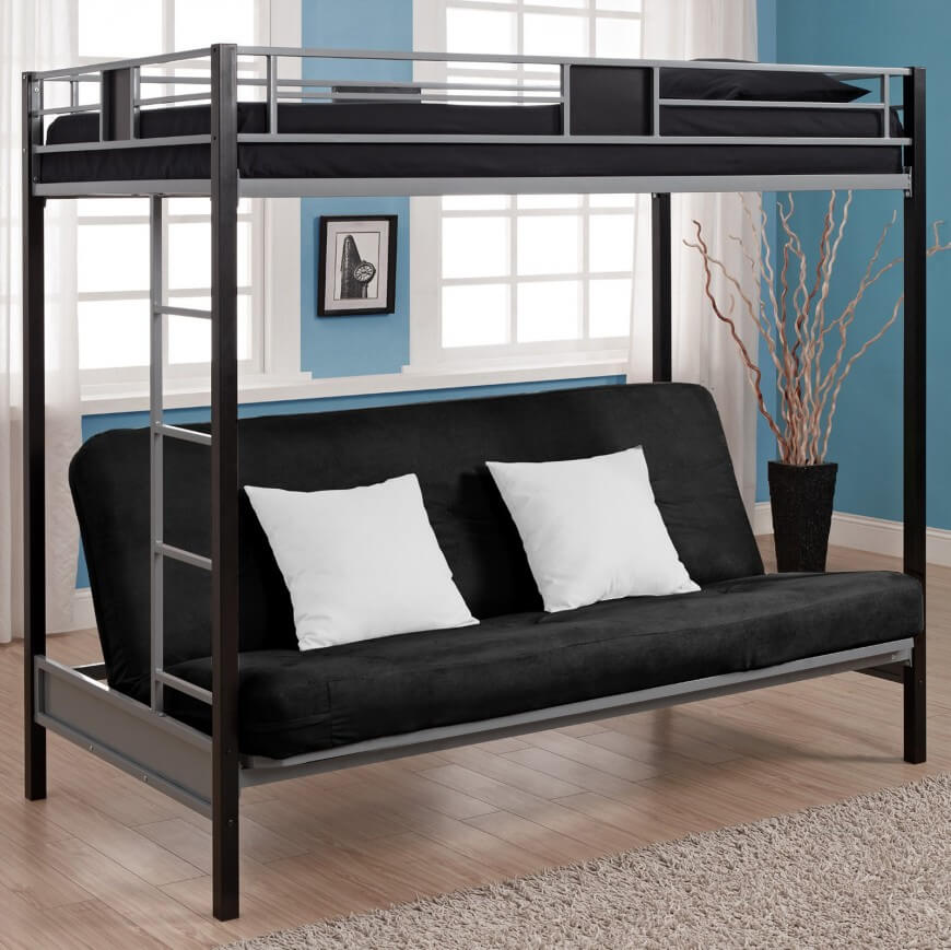Image of: Futon Bunk Beds Metal