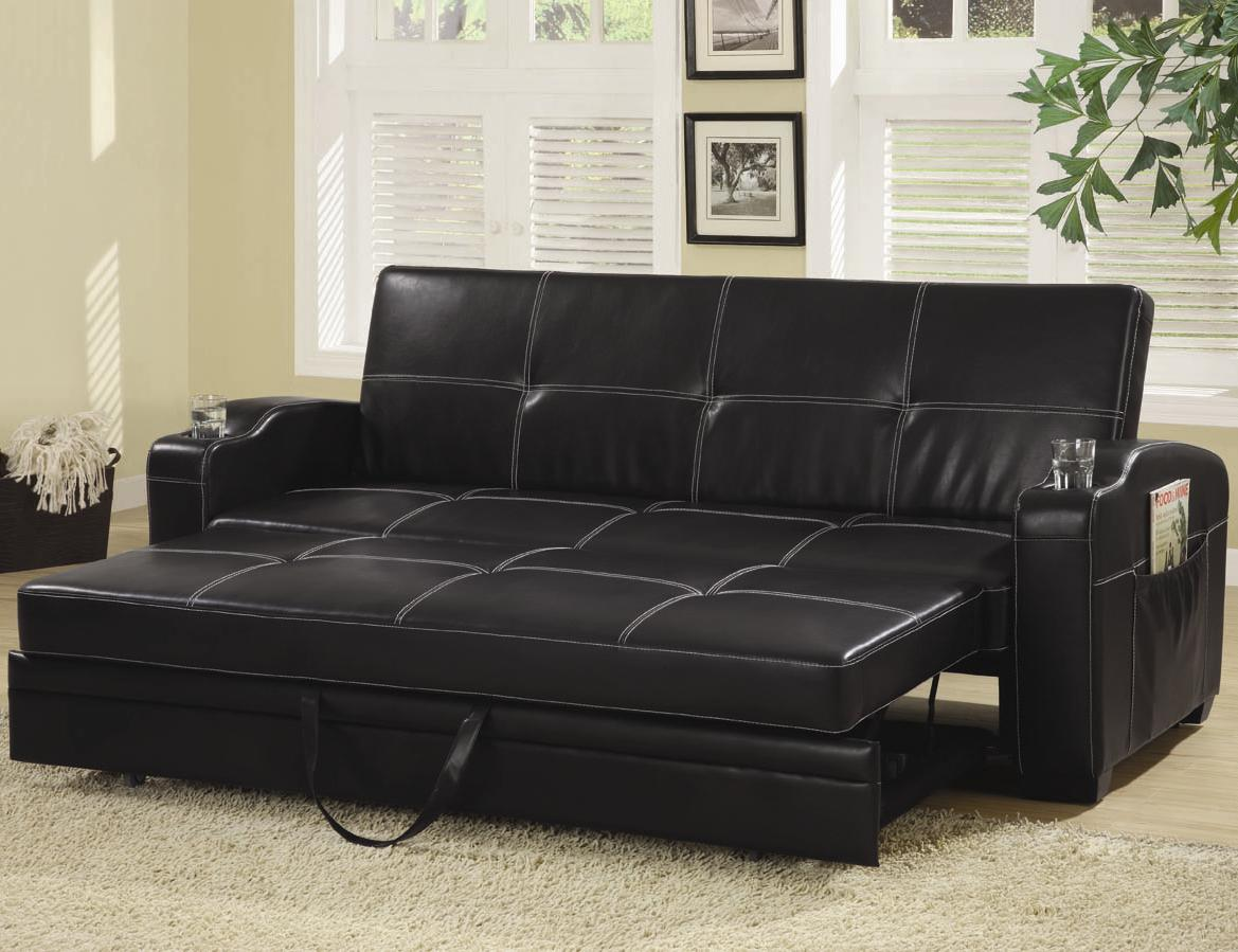 Image of: Futon Couch Bed Black