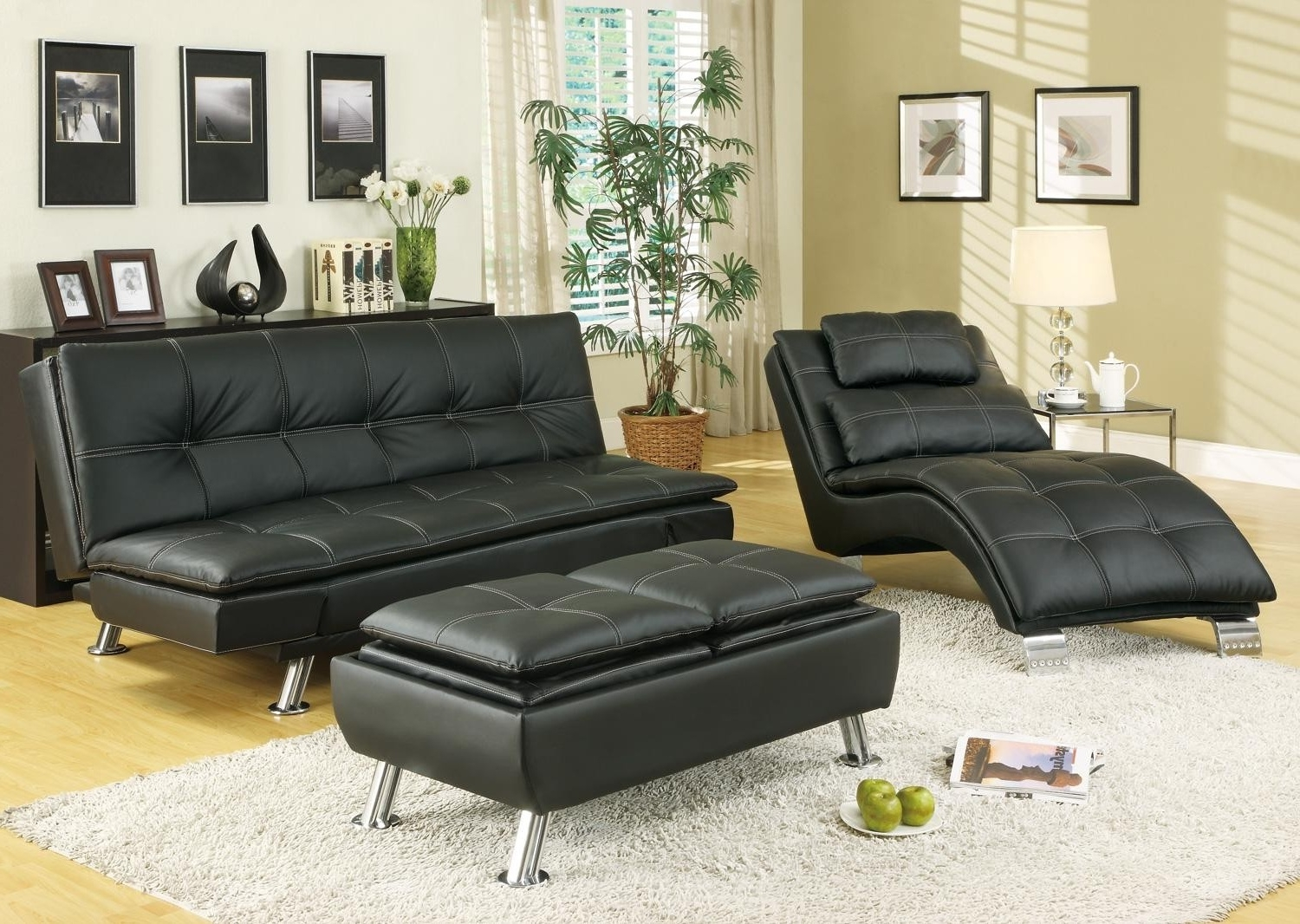 Image of: Comfy Futons Target Set Black Tufted Leather