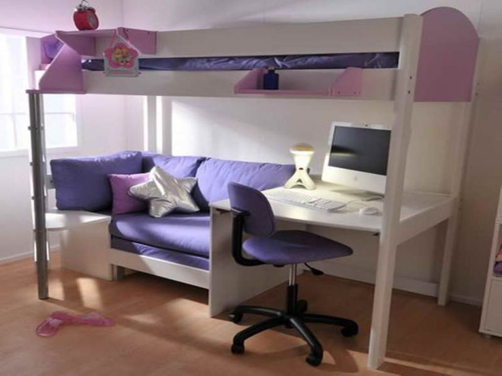 Image of: Girl Loft Bed with Futon
