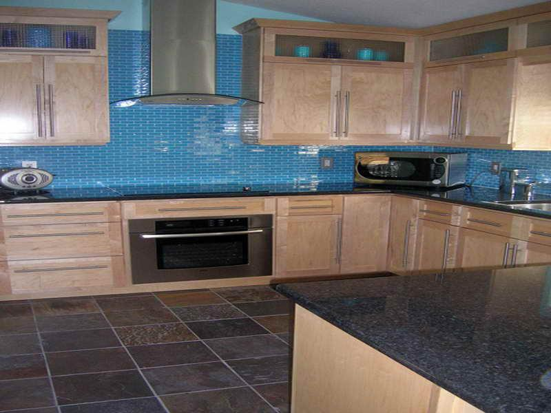 Image of: Glass Tile Backsplash Modern Small Blue Tiles