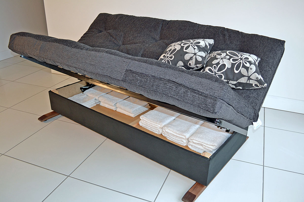 Image of: Grey Futon Storage