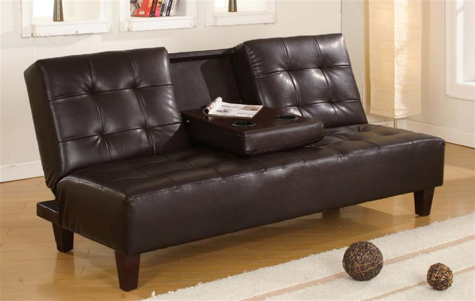 Image of: Leather Klik Klak Futon