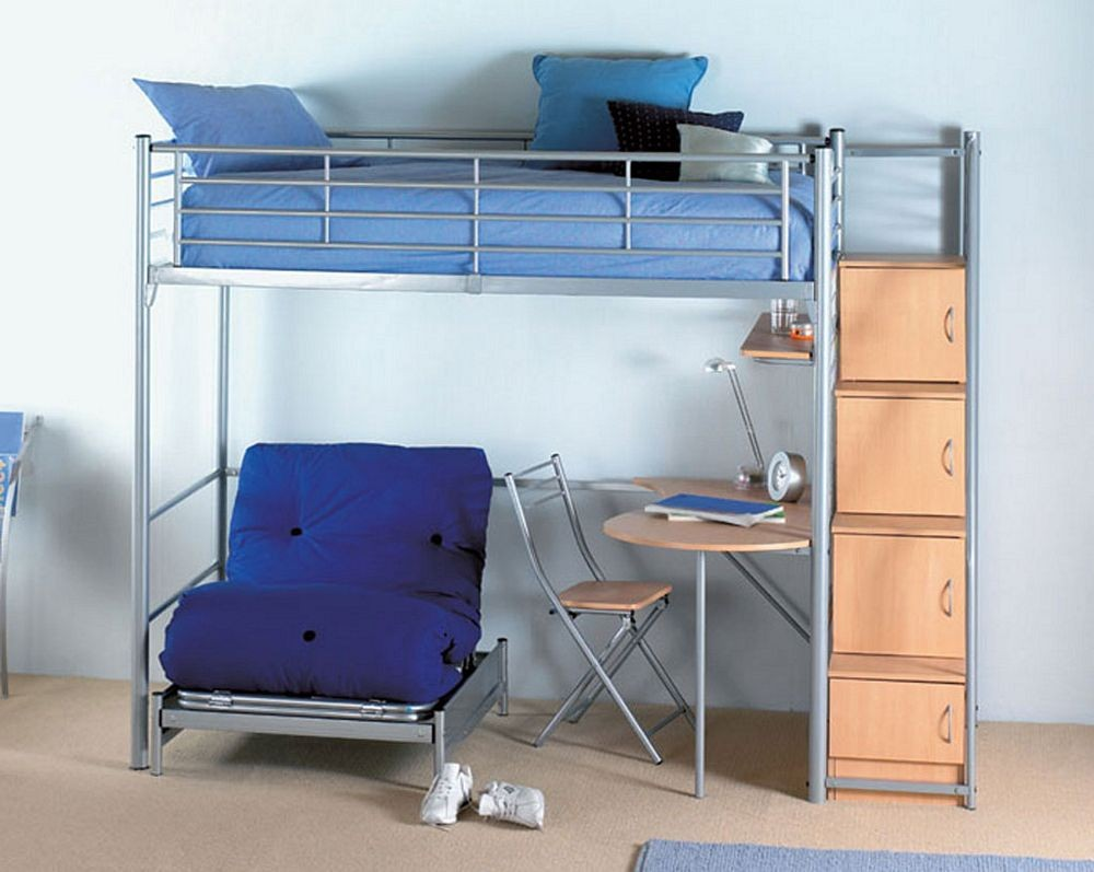 Image of: Loft Bed with Futon Desk
