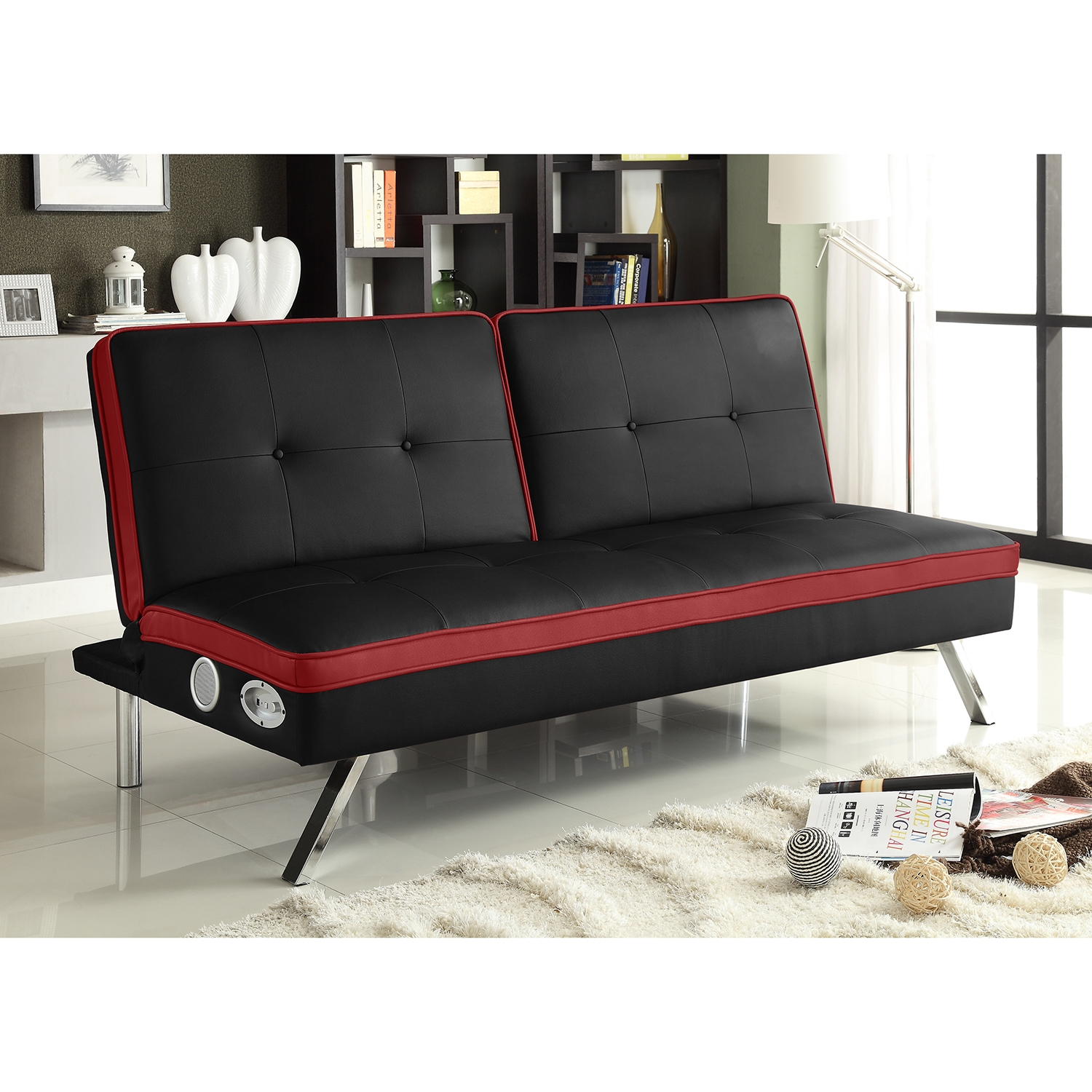 Louis Futon Black and Red