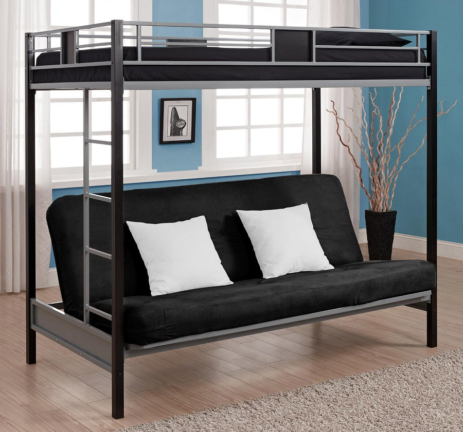 Image of: Metal Bunk Bed with Futon