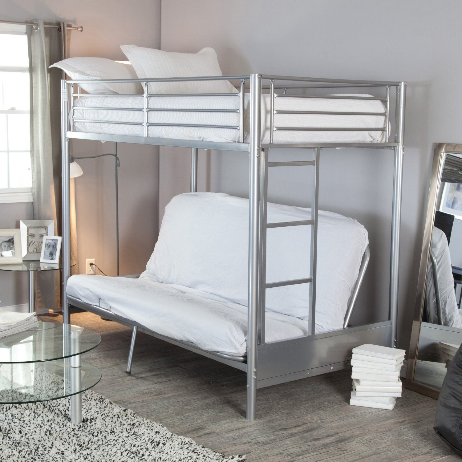 Image of: Metal Bunk Beds with Futon Frame