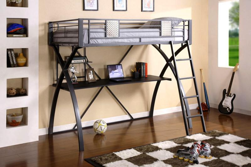 Image of: Metal Loft Bed Mini Futon Sofa with Desk