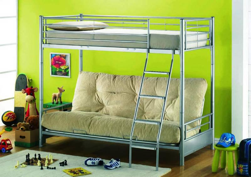 Image of: Metal Mini Futon Sofa Bunk Bed