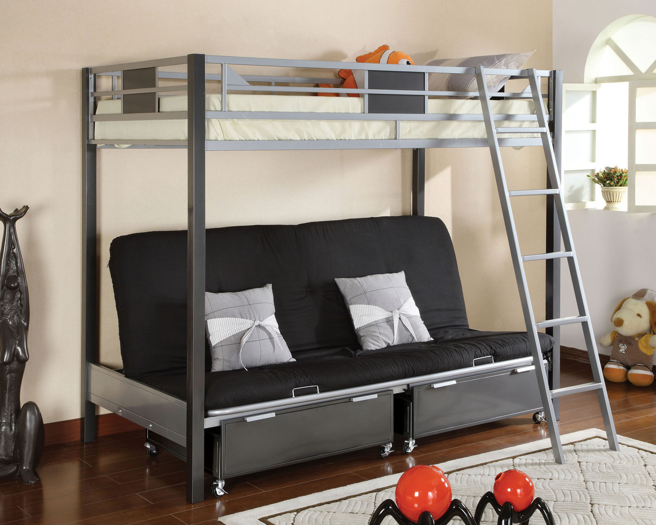 Image of: Modern Metal Futon Bunk Bed