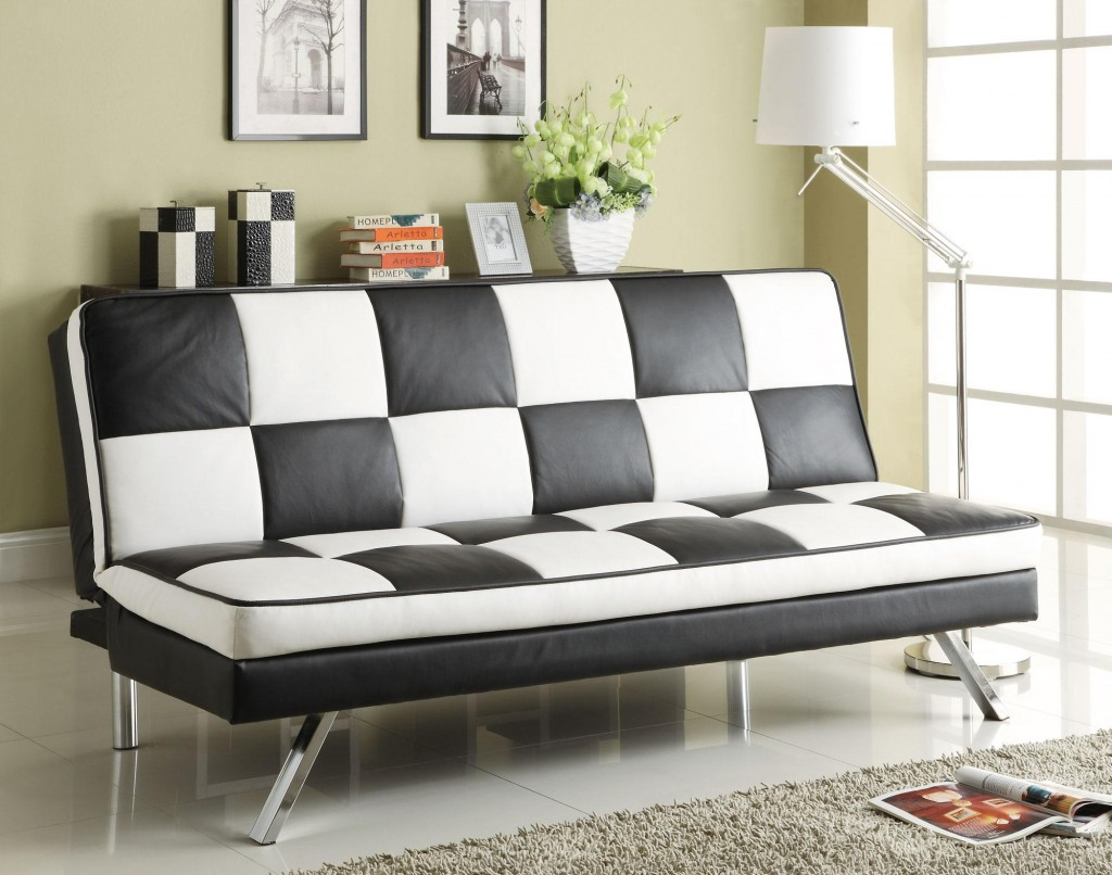 Image of: Retro Faux Leather Futon
