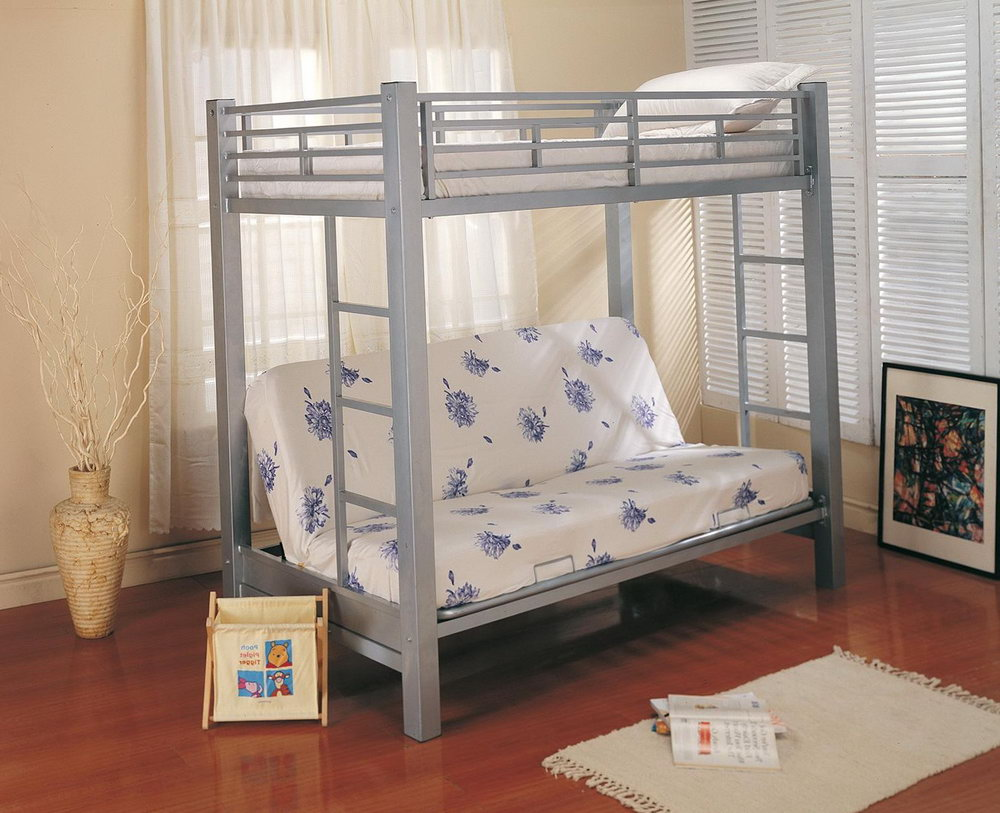 Small Metal Futon Bunk Bed Gray Metal
