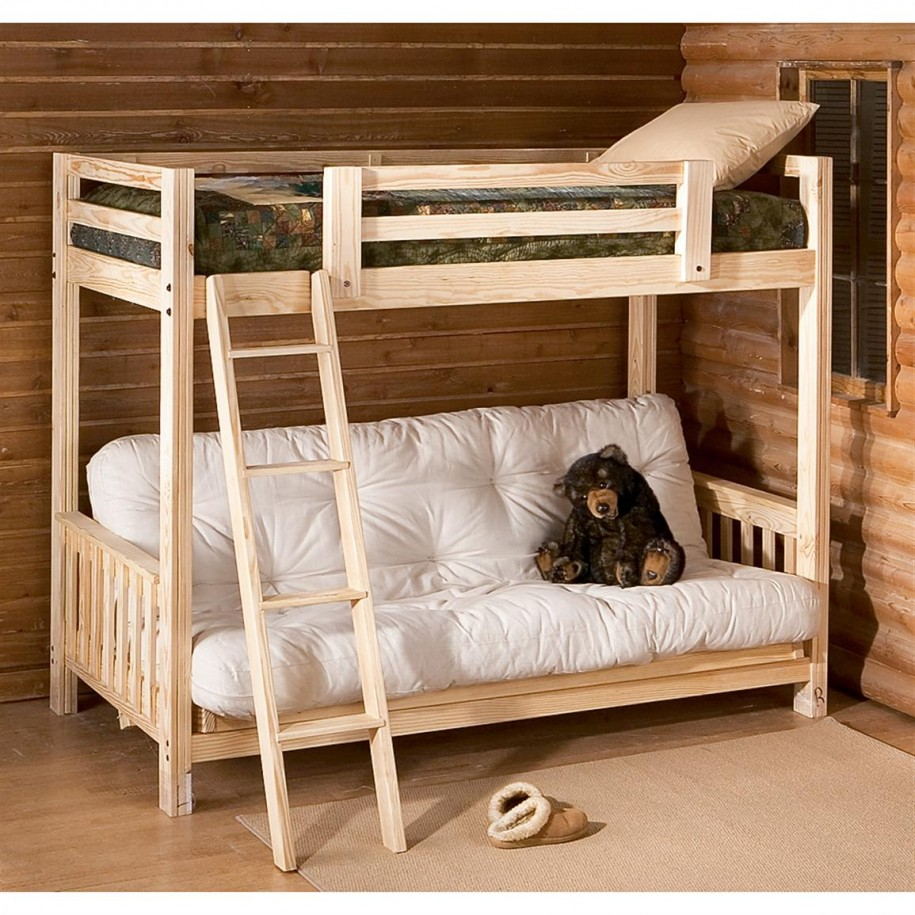 Image of: Study Loft Bed with Futon