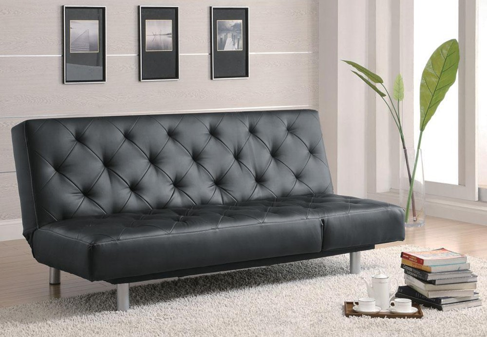 Tufted Leather Futon