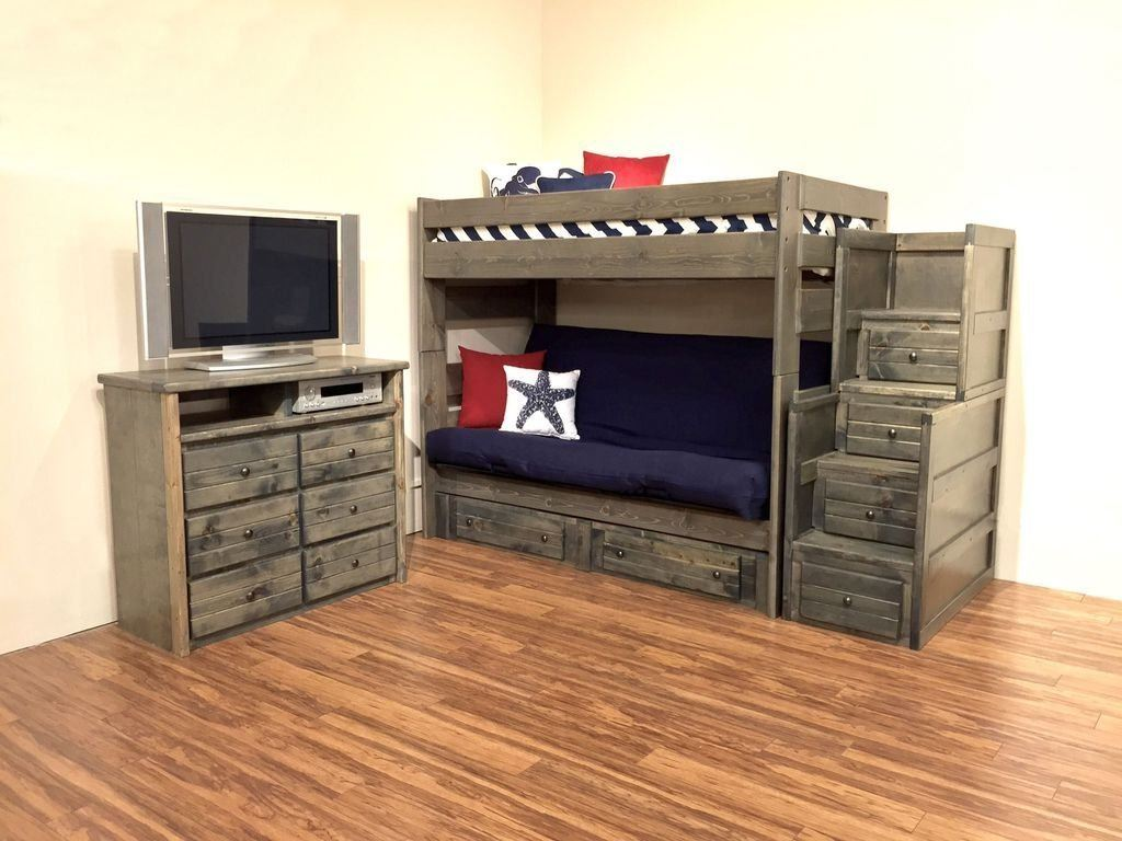 Image of: Twin Bunk Beds with Futon