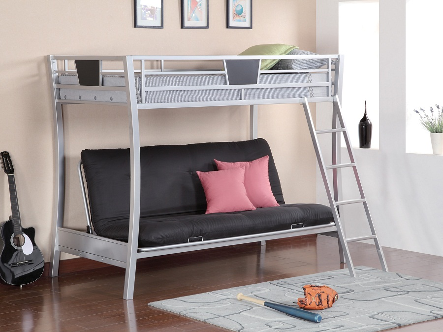 Twin Over Bunk Bed with Futon