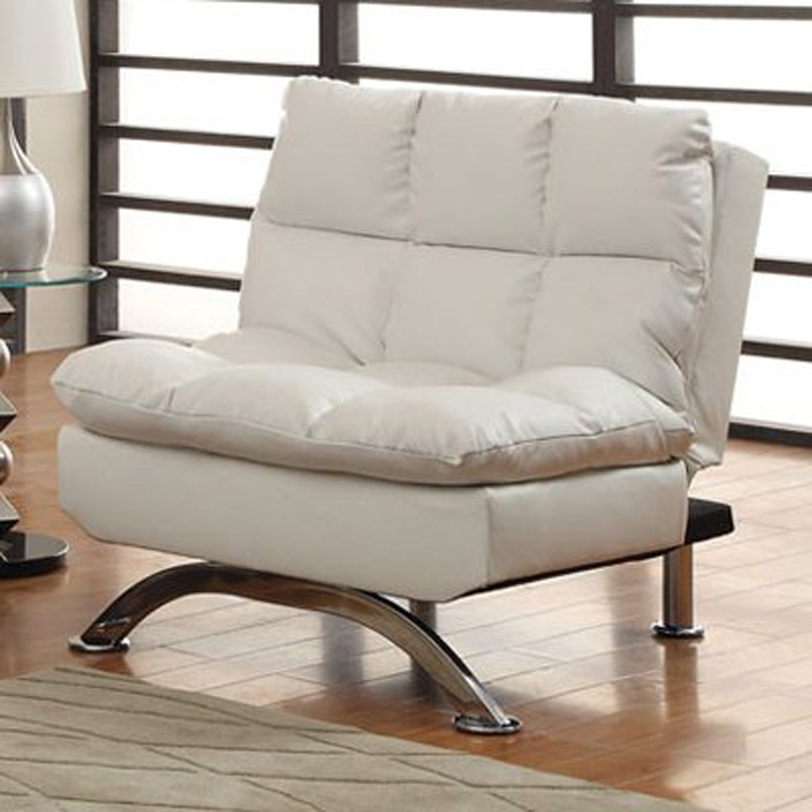 White Faux Leather Futon