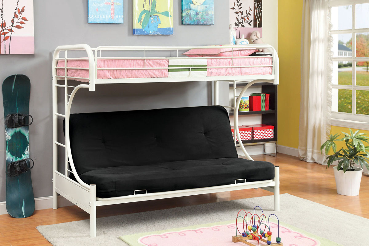 Image of: White Metal Futon Bunk Bed