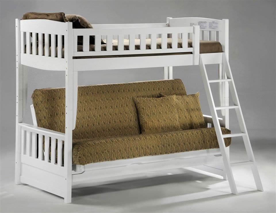 Image of: White Twin Over Futon Bunk Bed